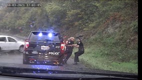 Video shows Virginia policeman saving fellow officer from oncoming car