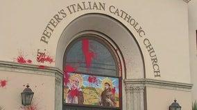 Downtown Los Angeles Italian Catholic church vandalized with graffiti
