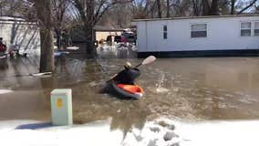 Trailer park floods in Jordan, Minn.