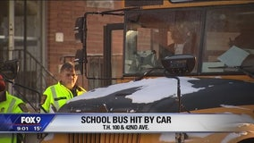School bus hit by fleeing car in Robbisndale, Minnesota