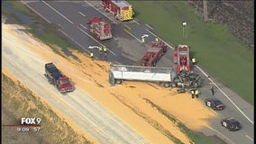 Semi rollover spills load of corn on Hwy 169 in Jordan, Minn.