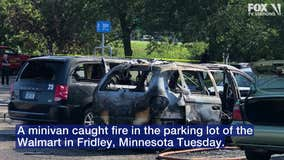 2 girls hospitalized after fire spreads to van in parking lot of Fridley Walmart