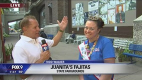 Todd Walker checks out Juanita's Fajitas at the State Fair