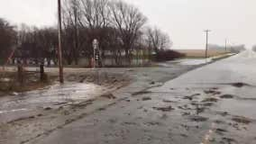 Hwy. 112 flooded in Le Sueur, Minn.