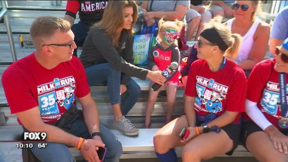 Milk Run participants stop by FOX 9 booth at State Fair