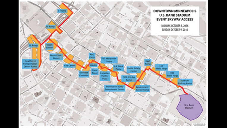 Vikings lay out skyway route for fans | FOX 9 Minneapolis-St ... on duluth skyway map, twin cities skyway map, nicollet mall skyway map, downtown minneapolis skyway system map, downtown mpls skyway map, winnipeg skyway map, mn skyway map, rochester skyway map, seattle skyway map, des moines skyway map,