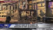 Trolley catches fire along I-35W in Roseville, Minn.