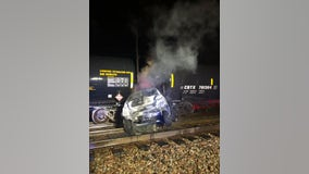 2 escape injury after train hits vehicle in Coon Rapids, Minn.