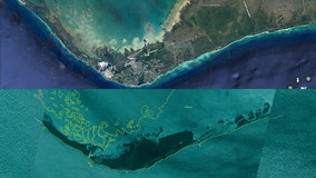 Satellite images of Grand Bahama coastline show incredible extent of flooding after Dorian landfall