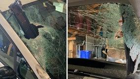 Driver not hurt after piece of debris pierces windshield in Brooten, Minn.