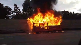 Trolley catches fire along I-35W in Roseville, Minn.