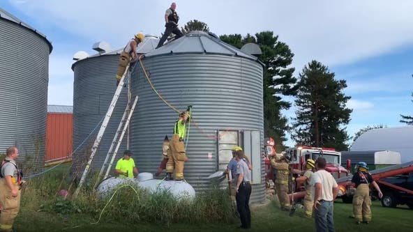 Crews rescue man from Barron County grain bin