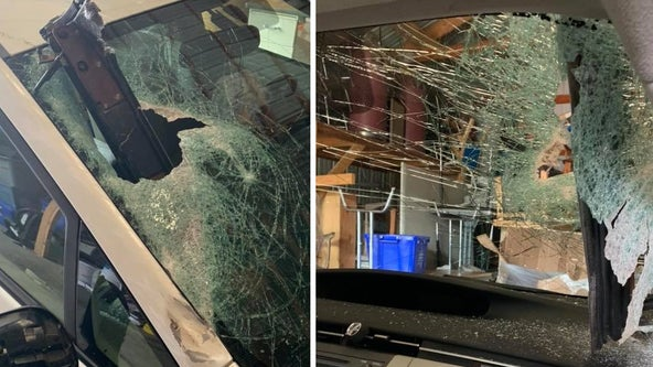Driver not hurt after piece of debris pierces windshield in Brooten, Minn.