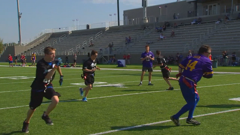 Vikings play flag football with Special Olympics