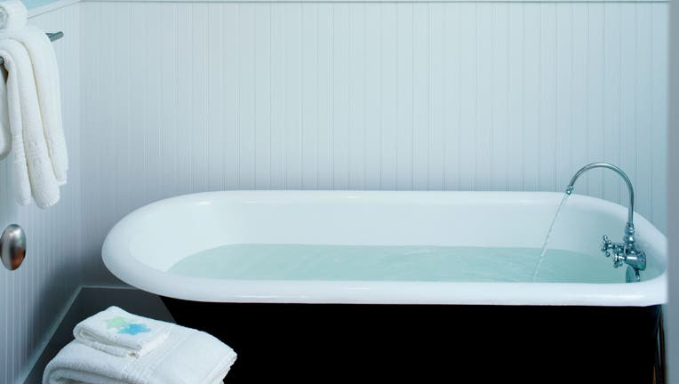 Classic bathtub filled with water