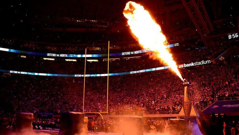 Minnesota Vikings pregame pyrotechnics dragon