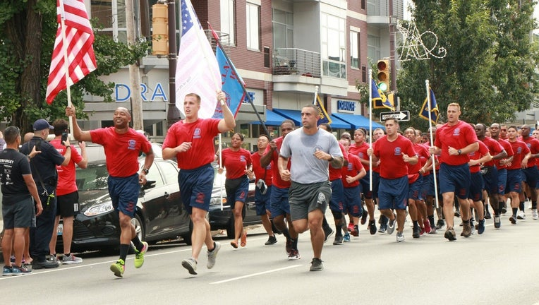 Members of the Philadelphia Fire Department formed a relay team that covered 80 miles from Maryland to Trenton in honor of first responders who lost their lives on 9/11.