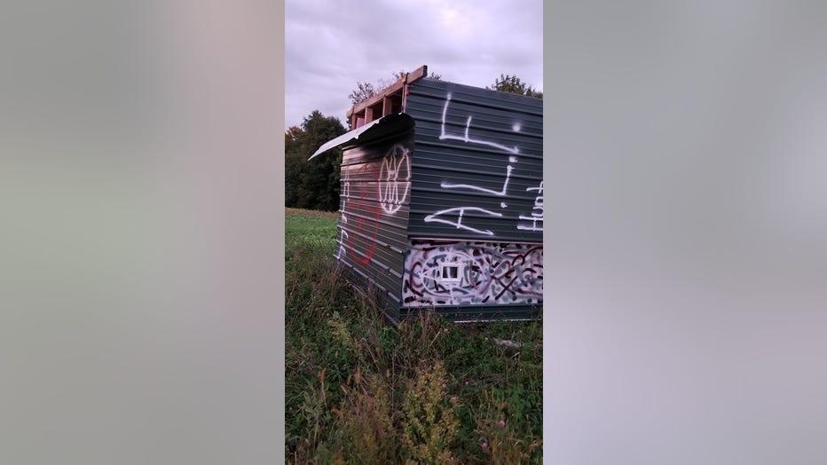 deer stand vandalized