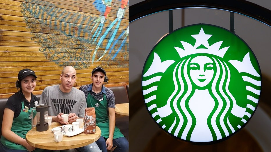 Winter is pictured with two Starbucks baristas at a location in San Cristobal, Guatemala, alongside a file image of a Starbucks sign. (Photo credit: Winter and Omar Marques/SOPA Images/LightRocket via Getty Images)