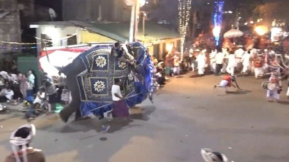At least 18 people were injured by an elephant that ran amok during a Buddhist pageant in Sri Lanka.