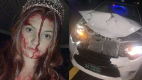 'Saw my blood and freaked': Woman in gory 'Carrie' costume horrifies first responders after car crash