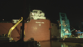 William A. Irvin museum ship returns to slip in Duluth's Canal Park