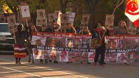 'Not Your Mascot' march gathers outside U.S. Bank Stadium ahead of Minnesota-Washington game