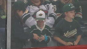 Minnesota girl gifts puck to another young Wild fan upset after missing out