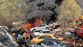 St. Paul Park, Minn. fire crews douse large car fire at junkyard