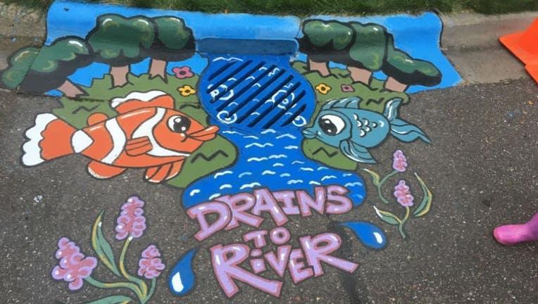 storm drain mural