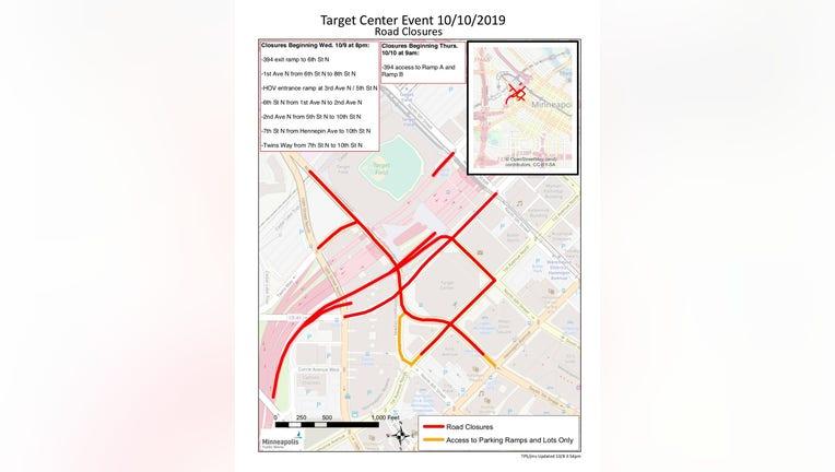 Minneapolis road closures Trump Target Center
