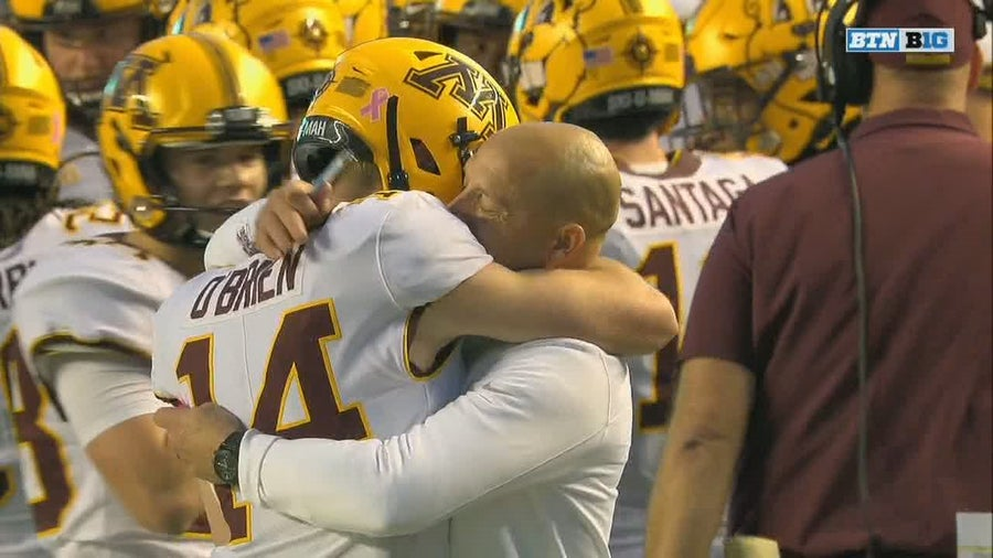 4-time cancer survivor Casey O'Brien makes debut for Gophers, hugs coach