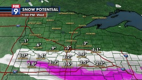 3-5 inches of snow possible along I-90 overnight, less than an inch for the Twin Cities area