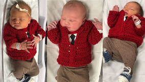 Hospital dresses up 'newest neighbors' in tiny red Mister Rogers cardigans for World Kindness Day