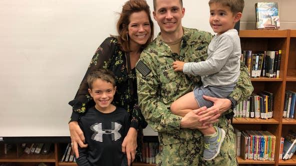 Navy dad surprises son at school in heartwarming reunion