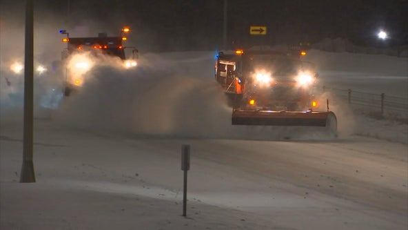 Wind and snow forces snow plows off roads in western and southern parts of Minnesota