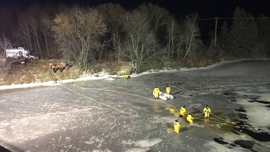 UPDATED: Woman dies after falling through ice at Long Lake