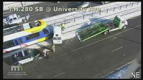 Green Line light rail train collides with delivery van making illegal U-turn on University Avenue