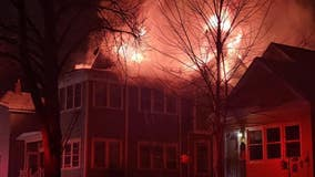 Firefighters search burning St. Paul house, pull out before roof collapse