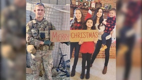 Military family gets creative with annual Christmas photo while dad's away