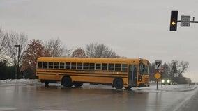Driver spots sliding bus on icy roads in Eden Prairie, Minn.