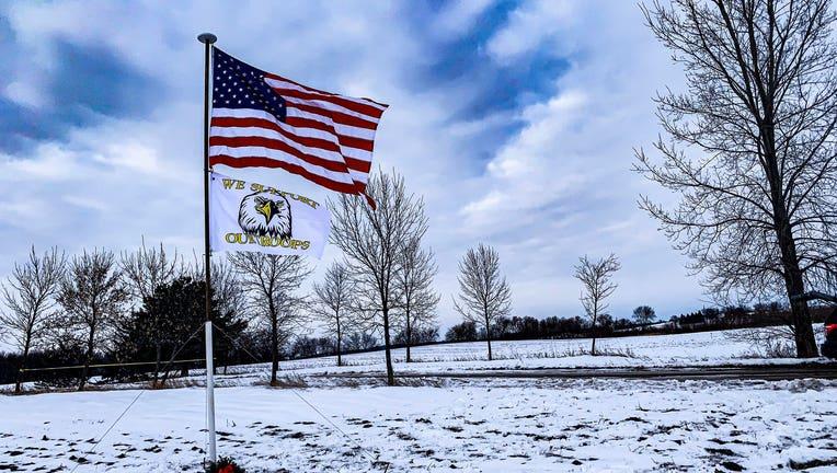 flag flying at Krippner farm