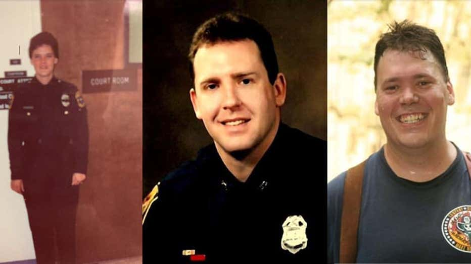 Early in their careers: (left) Major Burke, circa 1991, then with Fulton County Police; (center) Bruce, then with Dekalb Police, circa 1985; (right) Danny, circa 2004, DeKalb County Fire Rescue.