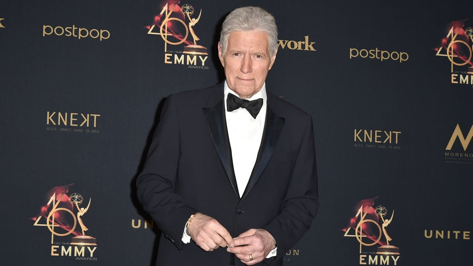 Alex Trebek, winner of the Outstanding Game Show Host award, poses at the 46th Annual Daytime Emmy Awards - Press Room at Pasadena Civic Center on May 05, 2019 in Pasadena, California. (Photo by David Crotty/Patrick McMullan via Getty Images)