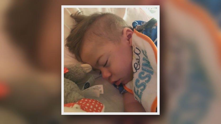 Baby Hollis sleeps