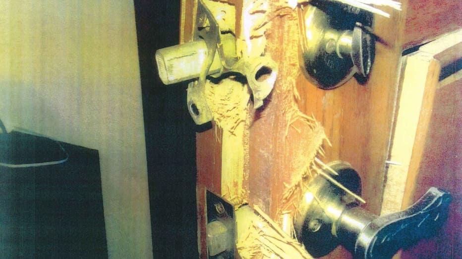 door forced in Closs home