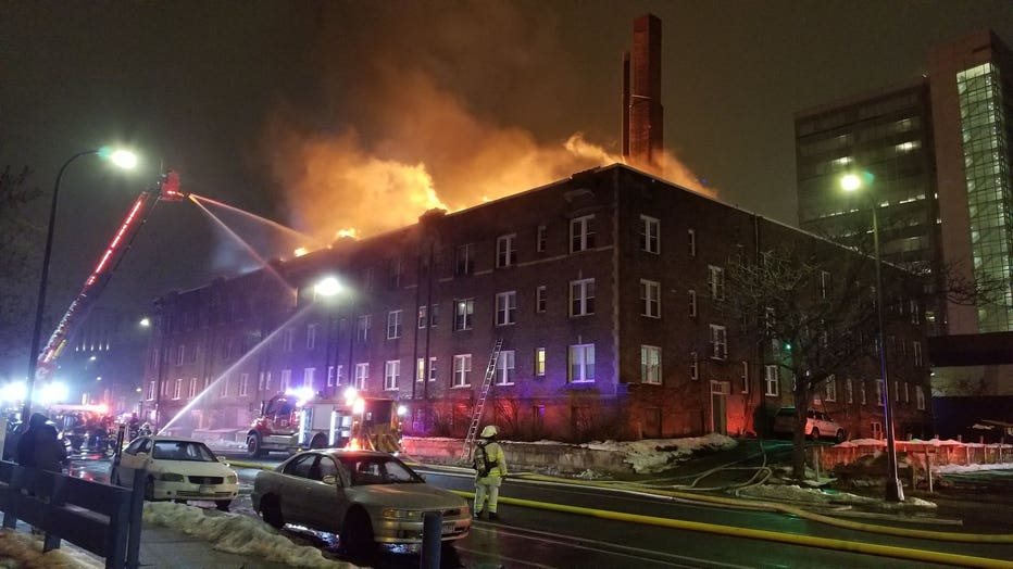 Fire at the Francis Drake Hotel in downtown Minneapolis