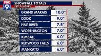 Snow totals: 10 inches in Grand Marais, 5 in Minneapolis