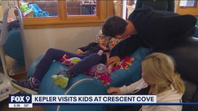 Max Kepler visits kids at Crescent Cove