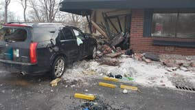 Driver injured after crashing into building in Anoka, Minnesota